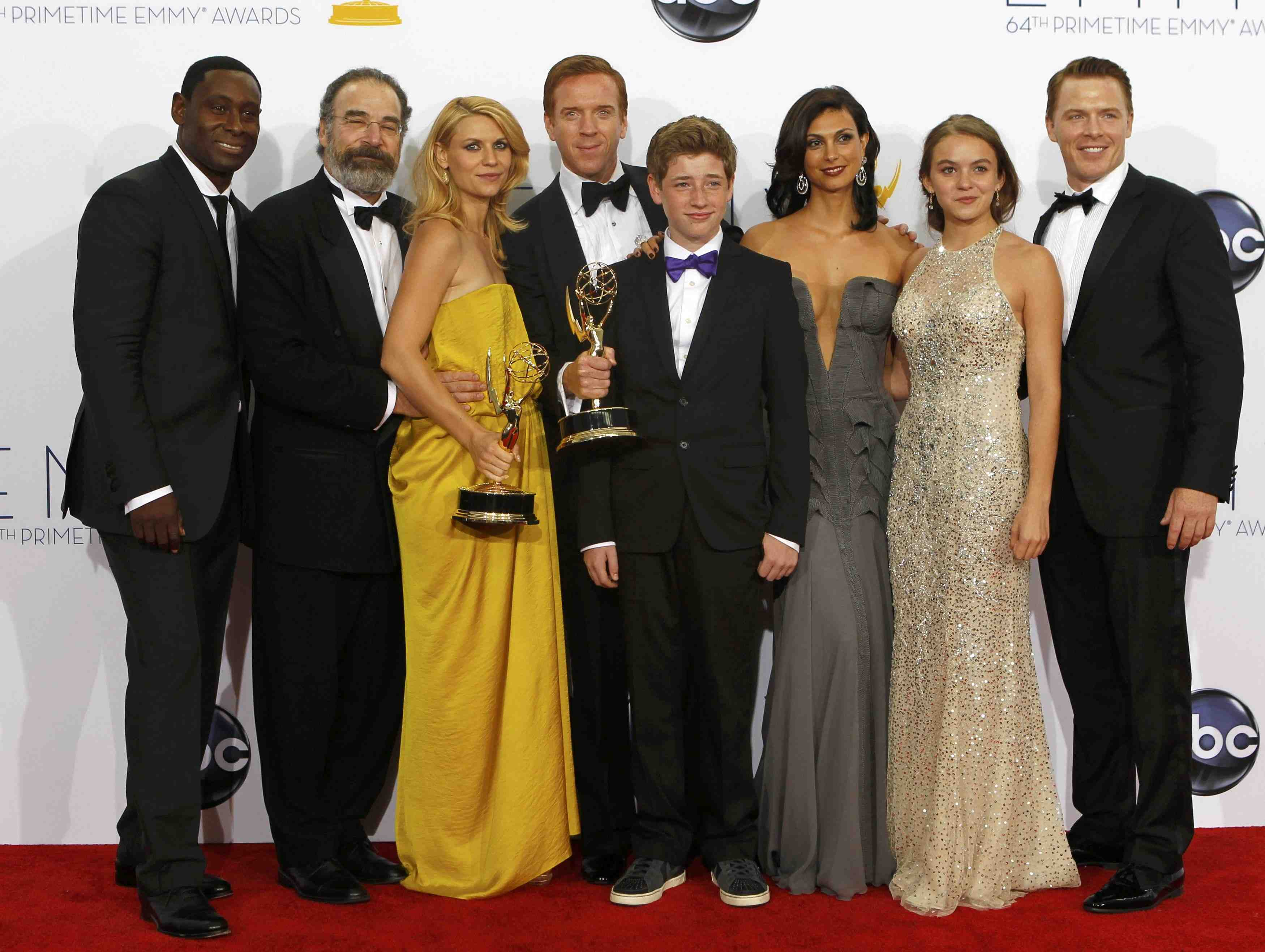 "The cast of ""Homeland"" pose after the series won the Emmy award for outstanding drama series at the 64th Primetime Emmy Awards in Los Angeles"