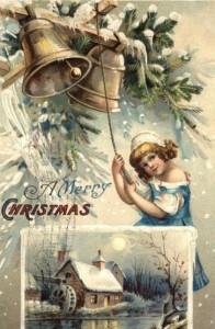A Merry Christmas - Young Girl in Blue Ringing Bells