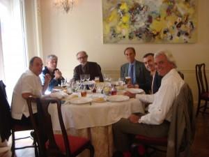 Los participantes en la entrega (de izquierda a derecha): Pablo Méndez, Alberto Infante, Juan Carlos Suñén, José Elgarresta, Lorenzo Silva y Rafael Soler