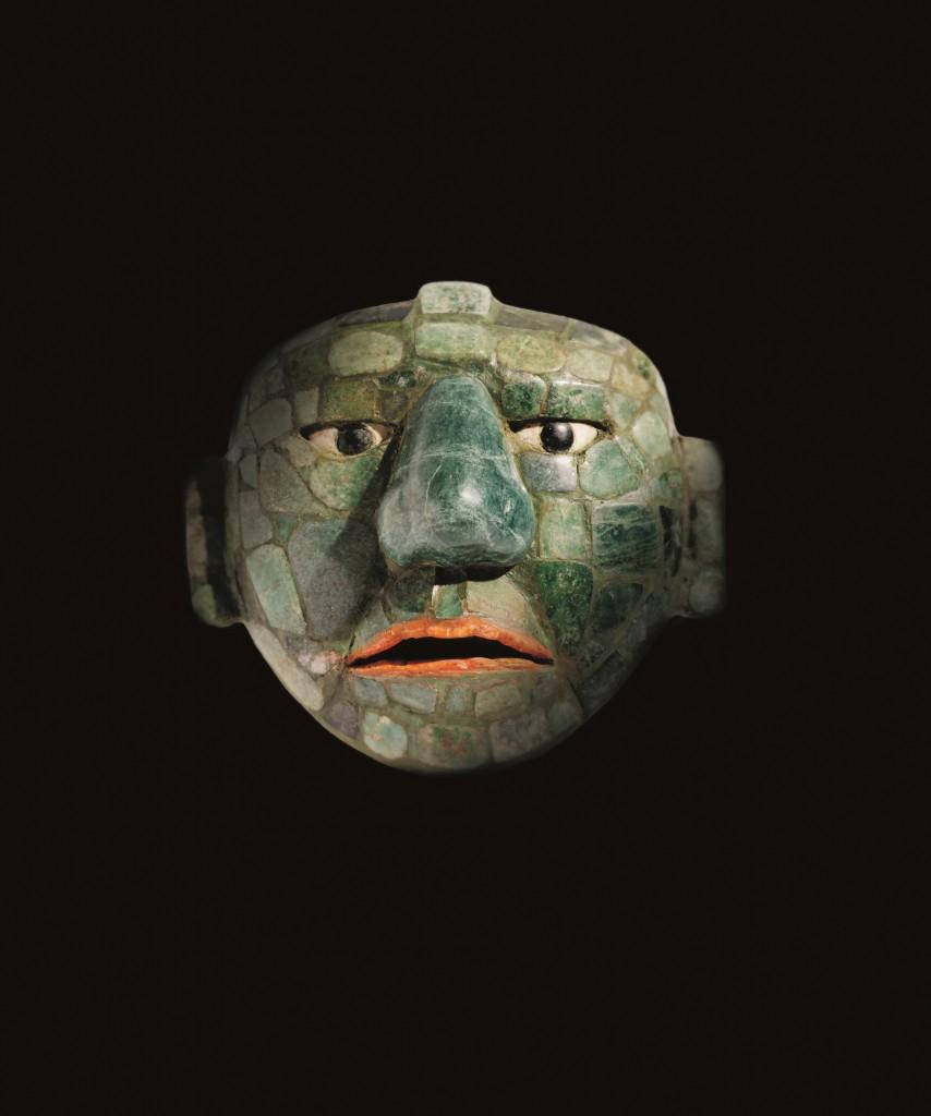 Máscara de jade, obsidiana y conchas, año 500-800 DC. Fundación La Ruta Maya, Guatemala.