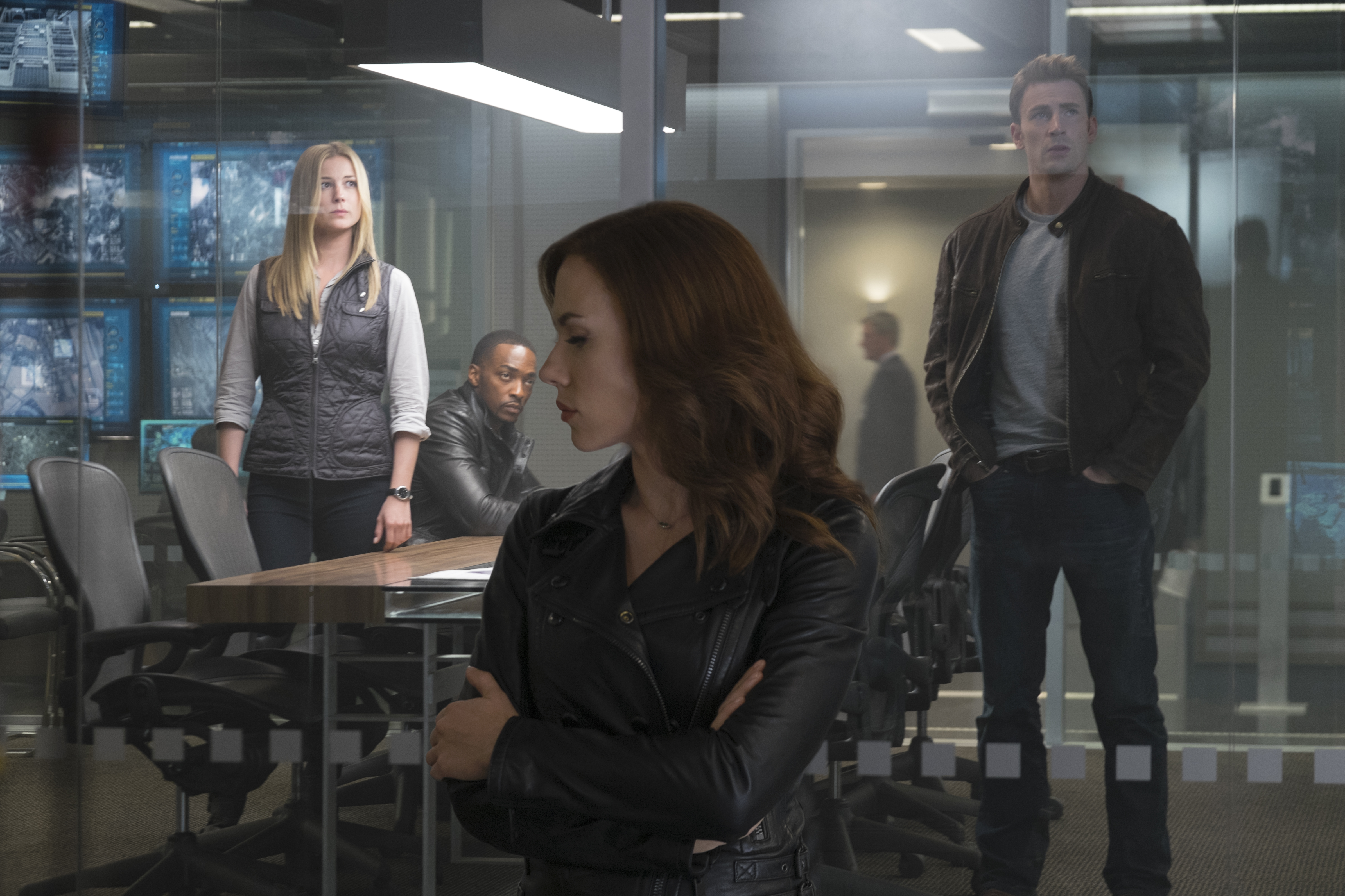 Marvel's Captain America: Civil War L to R: Sharon Carter/Agent 13 (Emily VanCamp), Sam Wilson/Falcon (Anthony Mackie), Natasha Romanoff/Black Widow (Scarlett Johansson), and Steve Rogers/Captain America (Chris Evans) Photo Credit: Zade Rosenthal © Marvel 2016